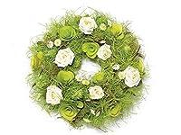 Ghirlanda decorativa con rose in carta e legno, Misure: Ø 25 cm, Materiale: Legno, Utilizzo: Ghirlande