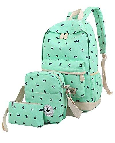 YiLianDa Damen Canvas Schulrucksack Rucksack + Schultertasche + Mäppchen Mädchen Grün