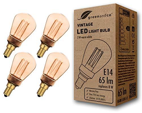 4x greenandco® Vintage Design LED Lampe im Retro Stil zur Stimmungsbeleuchtung E14 ST45 Edison Glühbirne, 2W 65lm 1800K extra warmweiß 320° 230V flimmerfrei, nicht dimmbar, 2 Jahre Garantie -