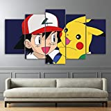 Stampa su Tela Pokemon Pikachu Picture 5 Pannelli Canvas Art Print Wall Artwork Digimon Anime for Kids Room,30×40cm×2+30×60cm×2+30×80cm×1