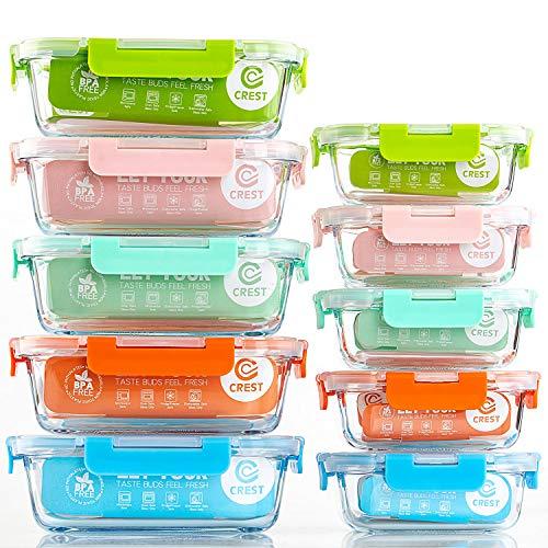 Crest 10er-Set Glas-Frischhaltedosen [fünf Farben pro Set] luftdicht, BPA-Frei, Vorratsdosen, Vesperbox Set, Geeignet für Mikrowelle, Gefrierschrank und Spülmaschine