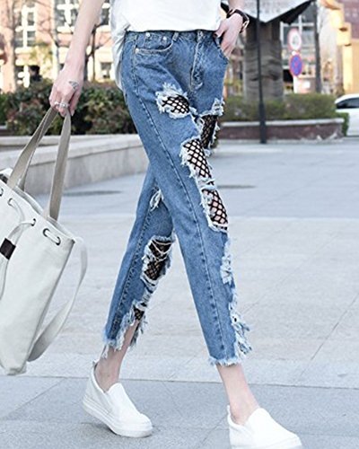 Femme Trous Jeans Slim Boyfriend Pantalon Inclure Resille Bleu