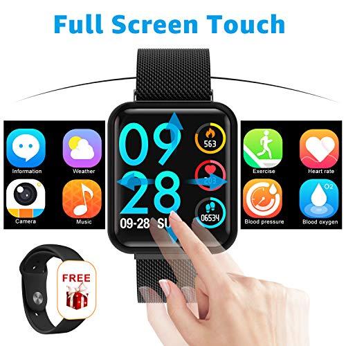 Fitness Smartwatch, Fitness Tracker Wristband - wasserdichte Smartwatch mit Schrittzähler Kalorienzähler Call/Whatsapp Message Reminder/Pulsmesser für Herren Damen IOS Andriod (Schwarz)