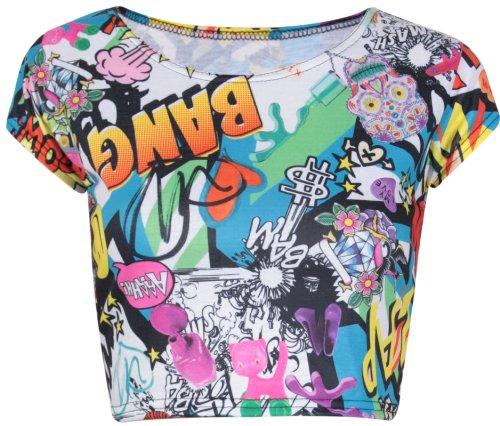 Damen Azteken Schottenkaro Schädel Streifen Comic Bedruckt Damen Rund U-ausschnitt Kurze Flügelärmel Abgeschnitten T-Shirt Bauch Top Comic