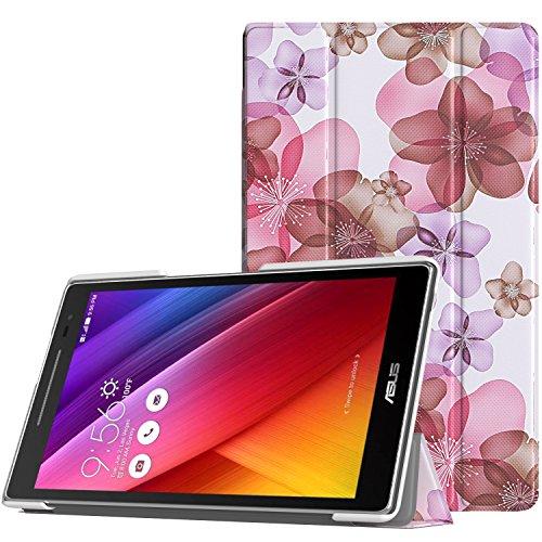 MoKo ASUS ZenPad 8.0 Z380C Hülle - Ultra Slim PU Leder Tasche Schutzhülle Schale Smart Case mit Auto Sleep/Wake up Funktion für ASUS ZenPad 8.0 Z380KL/Z380C 8 Zoll Tablet-PC, Blumen Violett