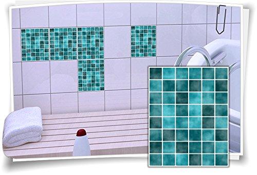 12 X 12 Mosaik (Fliesenaufkleber Fliesenbild Fliesen Fliesenimitat Aufkleber Mosaik Türkis, 12 Stück, 20x25cm)