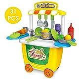 HERSITY 31 Piezas Juguete de Cocina Set Educación Infantil Juego de rol para Niños Niñas 3 Años