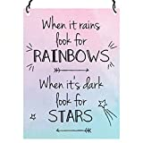 When It Rains Look For Rainbows Inspirational Quote SMALL Plaque Metal SIGN 7.5 x 10cm