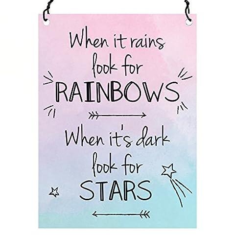 When it Rains Look for Rainbows quand C'est foncé Look pour étoiles Citation murale en métal Petite plaque rétro 7.5x 10cm