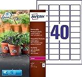 Avery 320 Etiquettes Autocollantes Ultra Résistantes Amovibles - 45,7x25,4mm - Impression Laser - Blanc (L7125)
