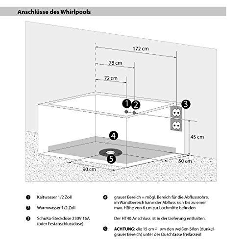 AcquaVapore Whirlpool Pool Badewanne Wanne A1813NA mit Reinigungsfunktion 90x185, Selfclean:aktive Schlauch-Reinigung +70.-EUR - 6