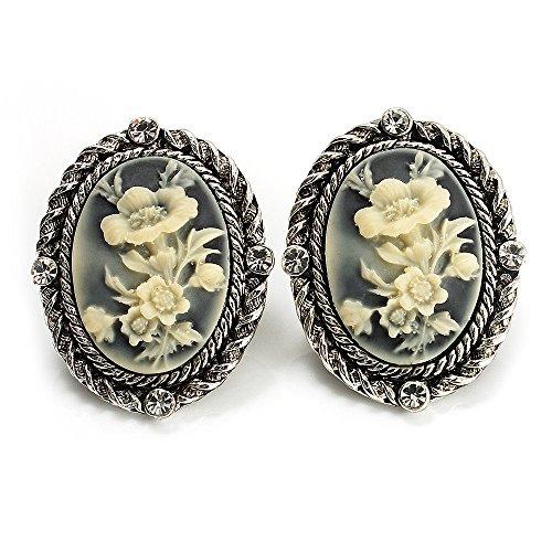 Kamee Blumen zum-Ohrringe silberfarben antik