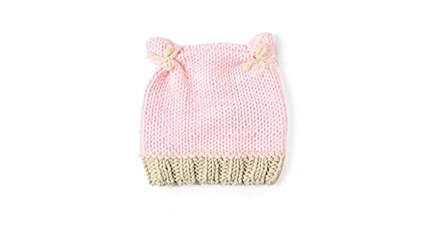 3aeddac6cb5 TBOP Baby HAT Pink Two Ear caps Hand-Knitted Baby hat Cute Baby hat   Amazon.in  Clothing   Accessories