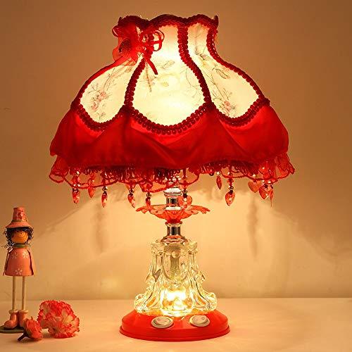 Künstlerische/Moderne Zeitgenössische Umgebende Lampen/Dekorative/Reizende Tischlampe/Leselampe For Studie Raum- / Büro- / Mädchen-Raum-Glas 25 * 39CM Schreibtisch Lanps (Farbe : Red) -