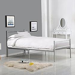 minifair 3FT Metal Bed Frame Single Bed Designer Kids Teens Adults' Bedroom(bed frame only)(Silver)