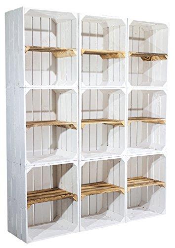 9er Set Weiße Regalkiste mit flambiertem Mittelbrett -quer- shabby Apfelkiste Obstkiste Kistenregal als Schuhkiste Schuhregal oder Bücherregal 50x40x30cm (Obst Möbel)