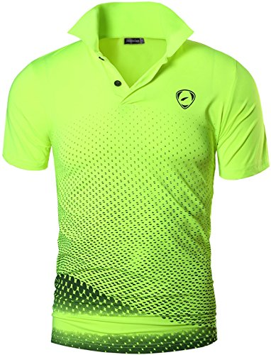 jeansian Herren Summer Sportswear Wicking Breathable Short Sleeve Quick Dry Polo T-Shirts Wicking Breathable Running Training Sports Tee Tops LSL195 GreenYellow