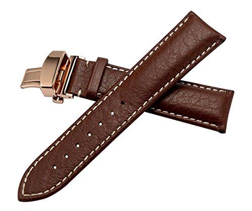 22mm hochwertige Luxus-Leder-Uhrenarmbänder Ersatz Riemen mittel gepolsterte Vintage braun natürliche Maserung