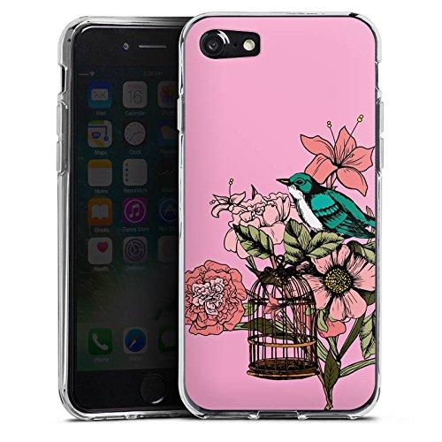 Apple iPhone X Silikon Hülle Case Schutzhülle Vogel Tattoo Blumen Silikon Case transparent