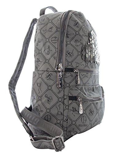 Italienische Damen Rucksack Giulia von Pieralli Schultertasche Damenrucksack Tasche Rucksäcke (Schwarz) Grau