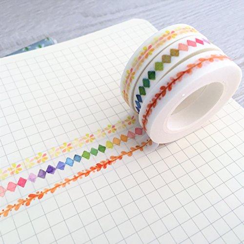 3Slim Washi Tapes–Skinny Masker Tape–8mm x 10m Rainbow Diamond–Blätter–Blume