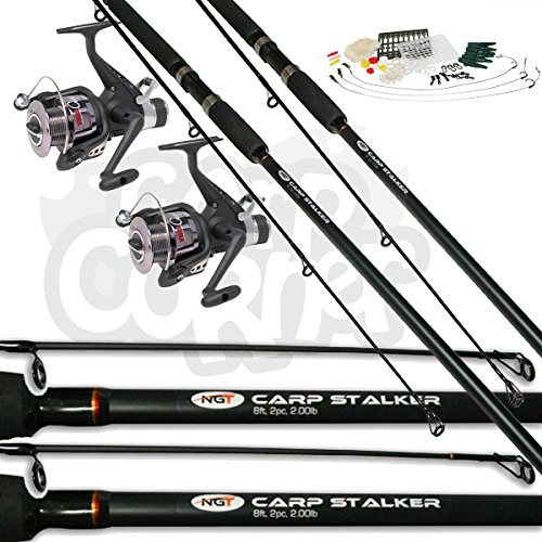 2x-Black-Carp-Fishing-Stalker-8ft-2lbTC-Rods-Reels-Set-Up-With-FREE-TACKLE-SET