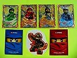 Lego Ninjago Serie 3 - 4 limitierte Gold Karten Trading Cards LE 1 Spinjitzu Meister Lloyd, LE 2 Spinjitzu Meister Kai, LE 3 Spinjitzu Meisterin Nya, LE 4 Spinjitzu Meister Cole, + 2 Ninjago Schútzhüllen
