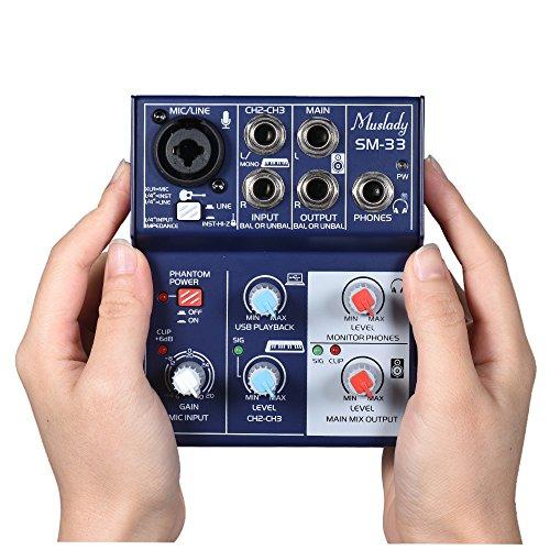 1 Unze Unterstützt (Kalaok SM-33 Mini 3-Kanal Soundkarte Mischpult Digital Audio Mixer Unterstützt 5V Power Bank USB Netzteil Eingebaute 48V Phantomspeisung für die Aufnahme DJ Network Live Broadcast Karaoke)