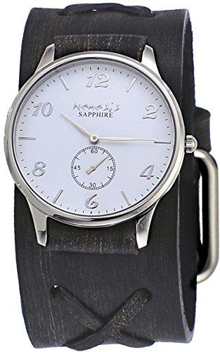 Nemesis KFBX253W Men's Signature White Dial Cross Pattern Wide Leather Band Watch
