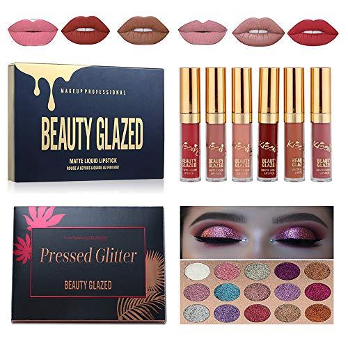 BEAUTY GLAZED 15 Couleurs brillant Glitter Fard à Paupières Palette Matte Smokey Ombre à Paupières & 6 Couleurs liquid lipstick mat lèvres gloss Makeup Set #5