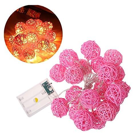 Haorw 20 LED 2.2m Rattan Ball Fairy String Light Lamp w/Battery Box Wedding Xmas Party Decor (Pink)
