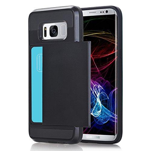 Preisvergleich Produktbild Samsung Galaxy S8 Plus Hülle,  Galaxy S8 Plus Schutzhülle, Alfort Lederhülle Zurück Schieberegler Karte Wallet Premium PU Leder Tasche Case Cover für Samsung S8 Plus Smartphone (Schwarz)