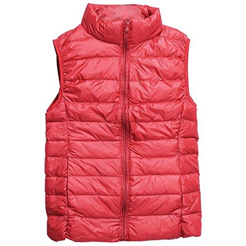 BOZEVON Piumino di Inverno Moda Giacca da Donna Senza Maniche Gilet Giubbotto giù leggero dritto collare Rosso