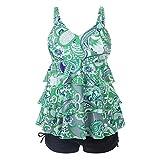 Yying Damen Tankini Badeanzug Zweitelige Bademode Set Gedruckt Beachwear mit Badehose Große Größen Schwimmanzug Bikini V-Ausschnitt Bathing Suit Grün 5XL
