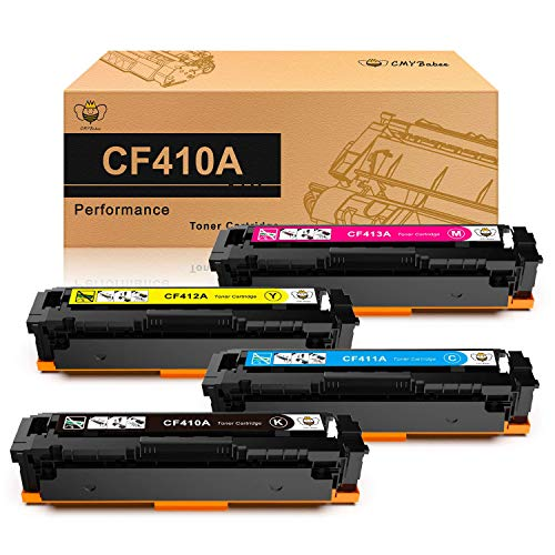 CMYBabee CF410A CF410X CF411A CF412A CF413A Cartouches de toner Replacement pour HP 410A 410X Compatible avec HP Color Laserjet Pro MFP M477FDW MFP M477FDN M377DW MFP M477FNW M452DN M452DW 4 pack