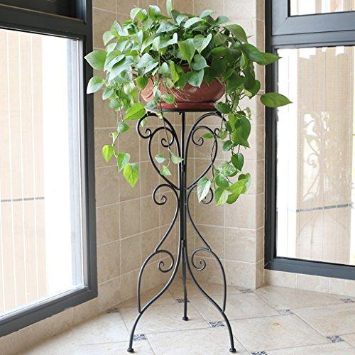 ZCJB Etagères de plantes Blanc Style Européen Pastorale Fer Fleur Étagère Floorstanding Balcon Intérieur Simple Scindapsus Chlorophytum Bonsai Shelf (Couleur : Noir, taille : 36 * 27.5 * 79cm)