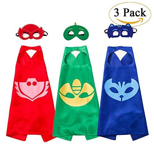 PJ Masks Kostüm,3 Capes und Masken für Kinder - Halloween (Masken Owlette Kostüm Pj)
