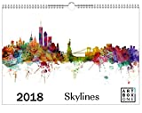 artboxONE Kalender 2018 Skylines von Michael Tompsett Wandkalender A3 Städte
