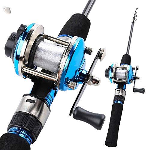 Fishyy canna da pesca la canna da pesca telescopica blu del ghiaccio del carbonio di 1.2m con la bobina di pesca a traina combinata bobina portatile della canna da pesca mette l'attrezzatura