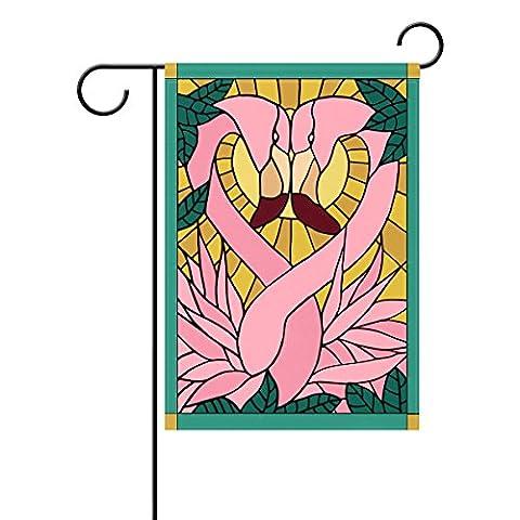 Duble Face vitrail Flamingo Amour et Bird Polyester Maison Jardin Drapeau Bannière 12x 18/71,1x 101,6cm pour fête de mariage tous les temps, Polyester, rose, 12x18