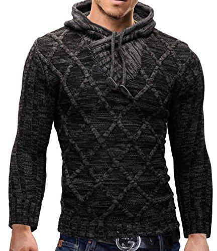 MERISH Chandails tricotés de hommes design moderne SlimFit, beau modèle de tricot doux Modell 650 Anthracite