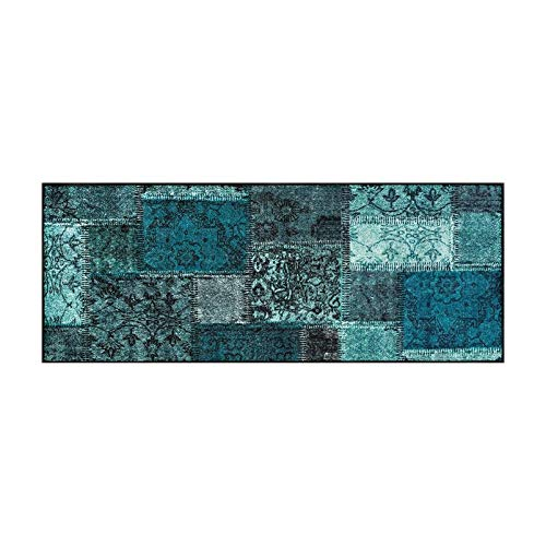 wash+dry Vintage Patches türkis Fußmatte, Acryl, grün, 75 x 190 x 0.7 cm