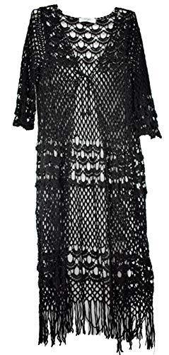 Wiya Damencardigan Cardigan Kimono Spitze Lace Fransen gehäkelt beige weiß LI130W8211 (Schwarz)