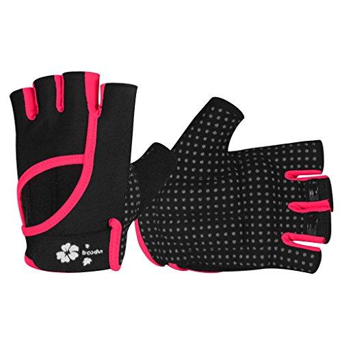 N Frauen-Mädchen-halbes Finger-Yoga einen.Kreislauf.durchmachenreiten Silikon-Anti-Rutsch-Handschuhe Fitness-Fahrrad-Handschuhe kurz rot M/L ()