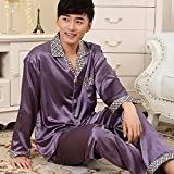 Mangeoo Spring Pijamas de caballero, primavera y otoño, seda, manga larga, sección fina de hombre,...