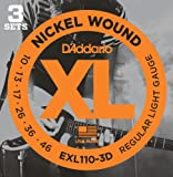 D'Addario EXL110-3D XL Nickel Wound Regular Light  (.010-.046) Electric Guitar Strings 3-Pack