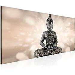 Cuadros de 100 x 40 cm - Buda - Cuadro en lienzo no tejido - Impresión de arte - Imagen para la pared - Más colores y tamaños en la tienda - Listo para colgar ¡100 % FABRICADOS EN ALEMANIA! 506612a