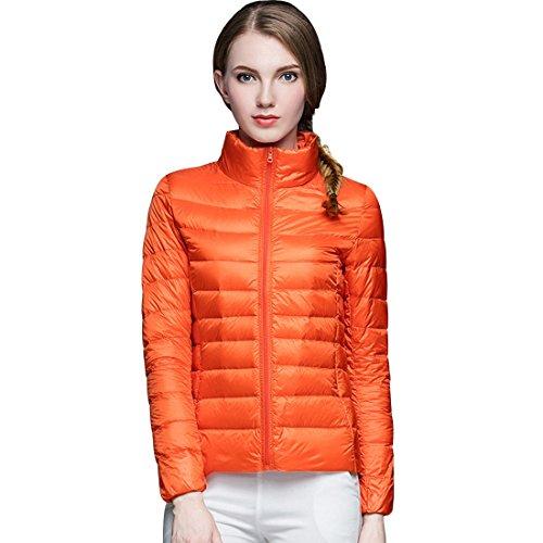 GWELL Damen Ultra Leicht Daunenjacke Winter Mantel Übergangsjacke orange XL