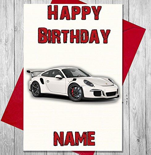 Mit Geschenk-korb Geschenk-karte (Sport Auto Weiß Porsche Personalisierte Geburtstagskarte–Jeder Name und Alter Druck auf der Vorderseite)