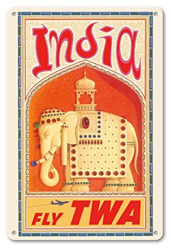 22cm x 30cm Vintage Metallschild - Indien - Flieg TWA (Trans World Airlines) - Geschmückter indischer Elefant mit Sänfte - Vintage Retro Fluggesellschaft Reise Plakat von David Klein c.1960s